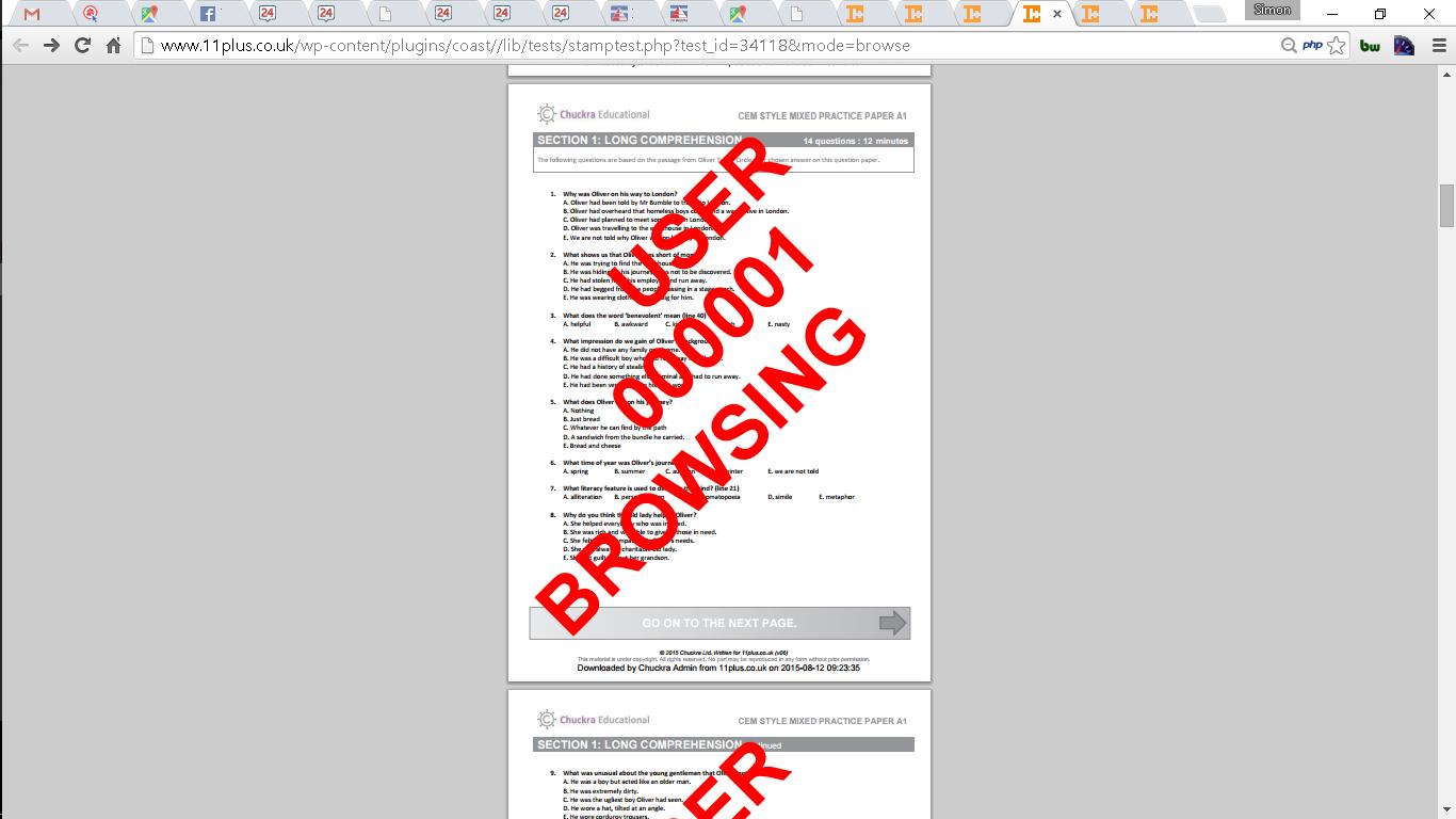 Browsing a printable test